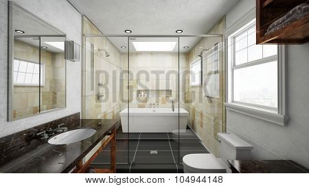 Bathroom with terracotta tiles and bathtub with shower (3D Rendering)