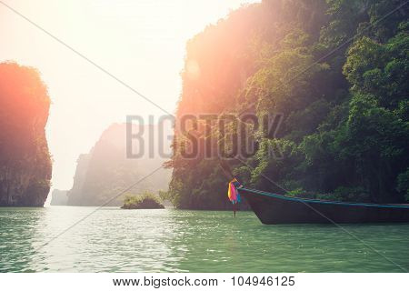 long boat on beautiful island