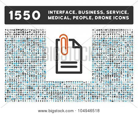 Attach Document Icon and More Interface, Business, Medical, People, Awards Glyph Symbols