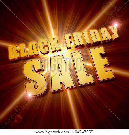 Black Friday Sale In Golden Letters Over Star