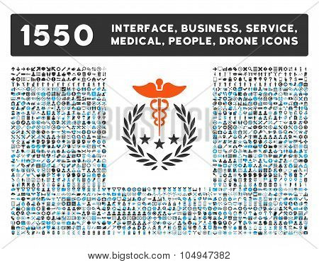 Caduceus Logo Icon and More Interface, Business, Medical, People, Awards Glyph Symbols