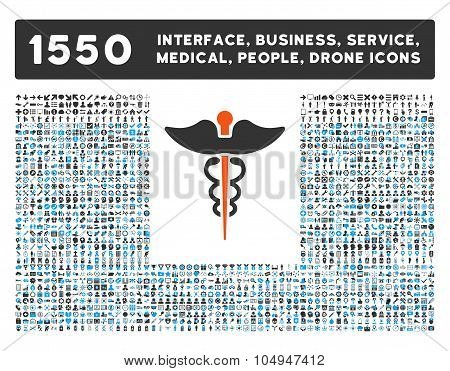 Caduceus Icon and More Interface, Business, Medical, People, Awards Glyph Symbols