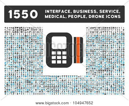 Card Processor Icon and More Interface, Business, Medical, People, Awards Glyph Symbols
