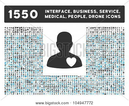 Cardiology Patient Icon and More Interface, Business, Medical, People, Awards Glyph Symbols