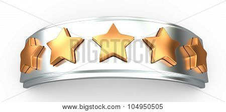 Crown With Gold Stars For Ranking, 3D