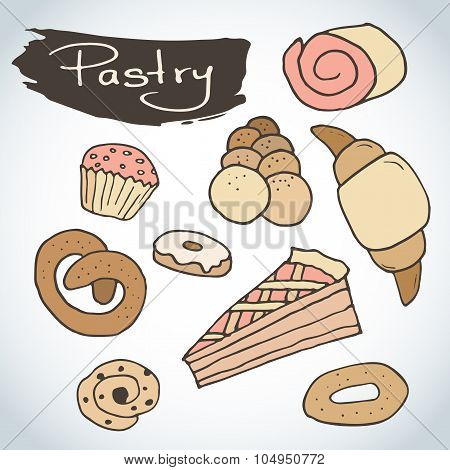 Hand Drawn Sweet Pastry Set. Bakery Vector Elements Sketch. Excellent For Creating Your Own Menu Des