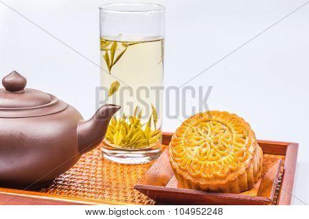 Mooncake And Tea,chinese Mid Autumn Festival Food.