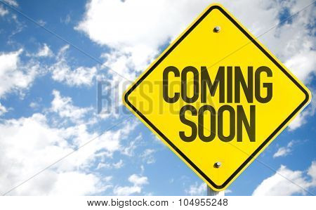 Coming Soon sign with sky background