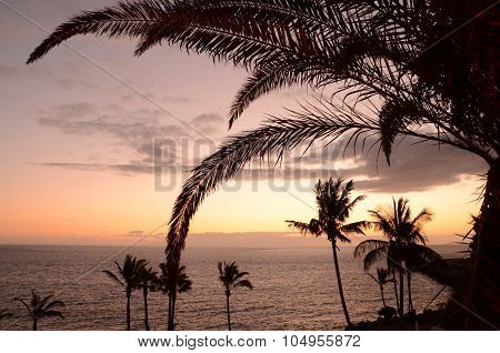 Picturesque and moody twilight over southern tenerife, canary islands, spain