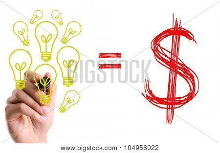 Hand with marker writing: Ideas = Money