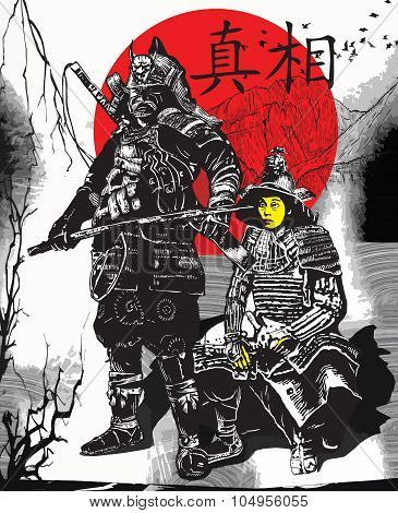An Hand Drawn Vector From Japan Culture - Samurais, Shoguns
