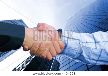 Corporate Deal - Blue Handshake