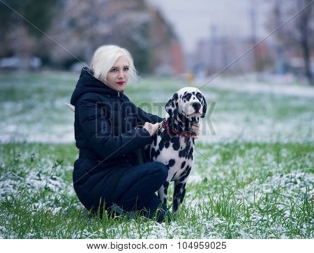 Young Girl And Dalmatian Dog