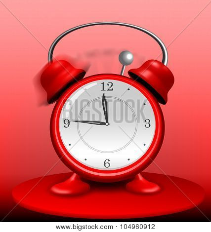 Red Alarm Clock Ringing Wildly