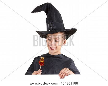 Helloween Boy With A Big Smile In Fancy Dress. Isolated Image