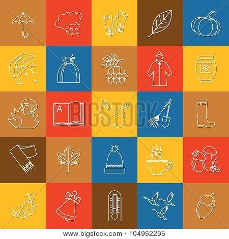 . Autumn, halloween and back to school outline icons set. Umbrella, leaf, open book,  pumpkin, harve