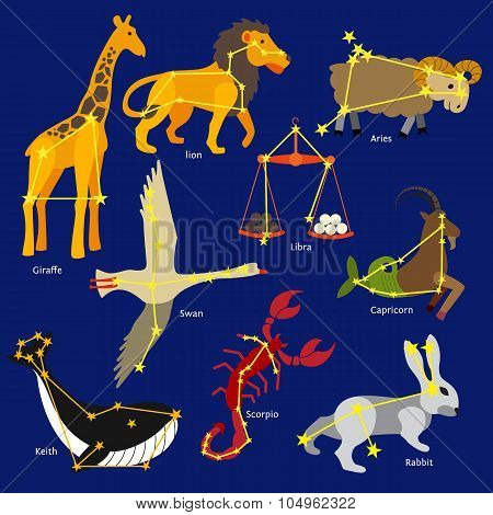 Constellations of the solar system. Set of constellations signs of giraffe, lion, libra, aries, capr