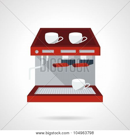 Red espresso machine flat vector icon.