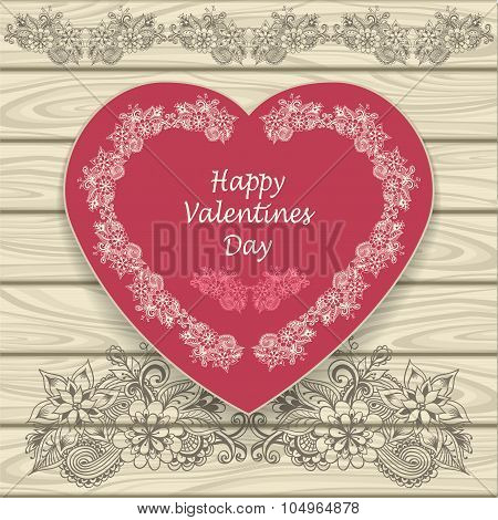 Congratulation Happy Valentines  Day  with heat and  doodle floral elements