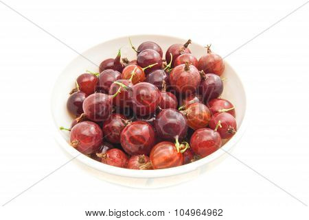 Tasty Gooseberries On A Glass Dish