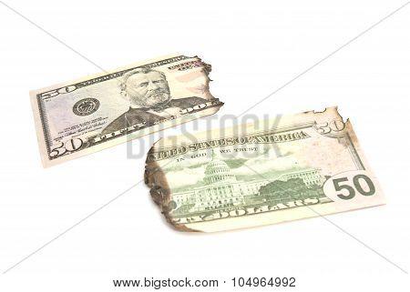 Burnt Dollars Banknotes