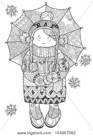 Girl under umbrella in winter hand drawn doodle.