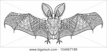 Zentangle stylized bat.