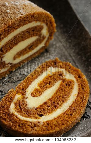 Close up of a pumpkin roll