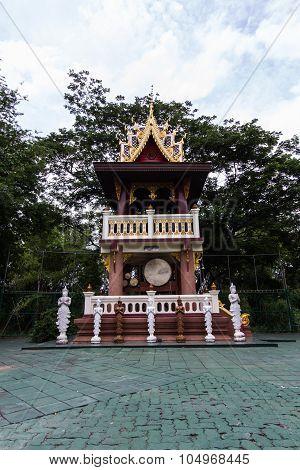 Thai Belfry With Thai Drum