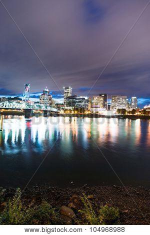 Portland Oregon Waterfront Willamette River Flowing Under Hawthorne Bridge