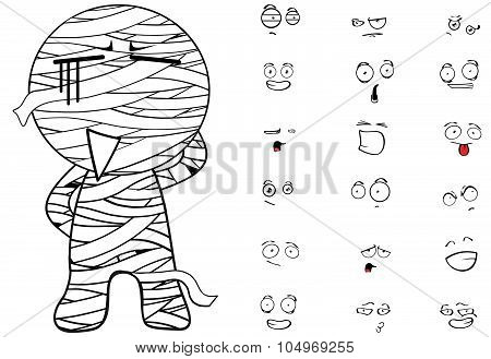 mummy cartoon expression set