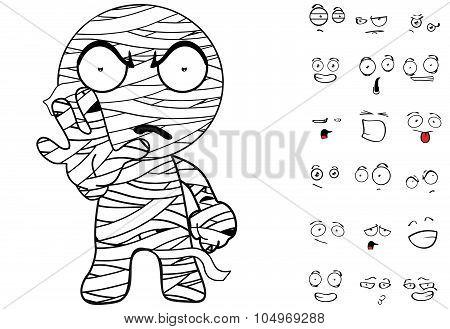 stop mummy cartoon emotions set