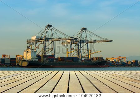 Cargo Ship Port At Twilight Scene.