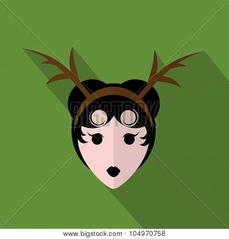 Woman head with attire icon