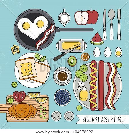 Top View Of Nutritious Breakfast Set