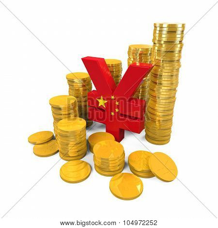 Chinese Yuan Symbol and Gold Coins