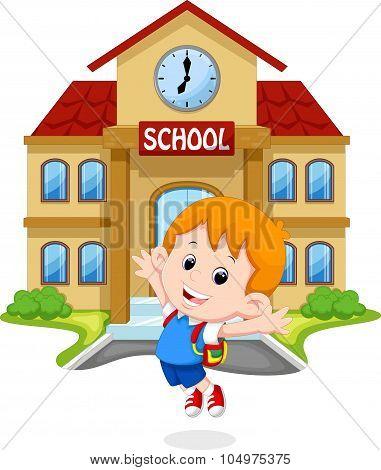 Little boy jumping for joy on school grounds