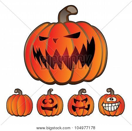 Halloween Holiday Pumpkin Jack O Lantern Set