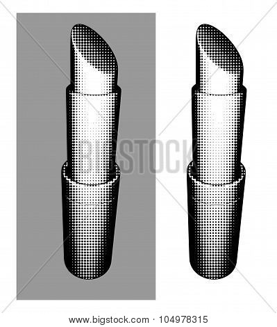 Halftone Trendy Fashion Graphical Lipstick Over White Or Gray
