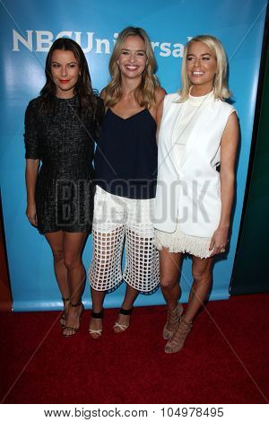 LOS ANGELES - AUG 12:  Juliet Angus, Marissa Hermer, Caroline Stanbury at the NBCUniversal 2015 TCA Summer Press Tour at the Beverly Hilton Hotel on August 12, 2015 in Beverly Hills, CA