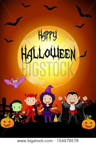 Halloween background with little kids wearing Halloween costume