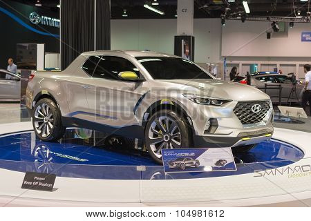 Hyundai Santa Cruz Pickup Truck On Display.