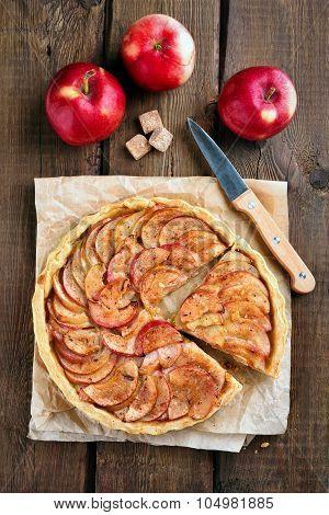 Apple Pie On Rustic Table