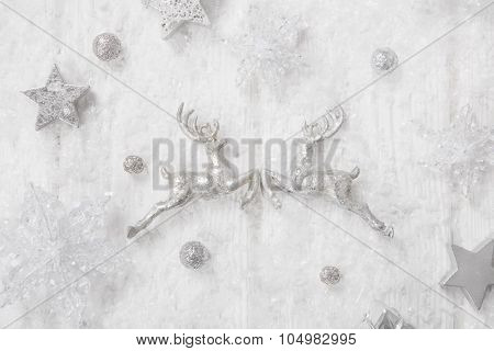 Precious and luxurious shabby chic white, grey and silver christmas background.
