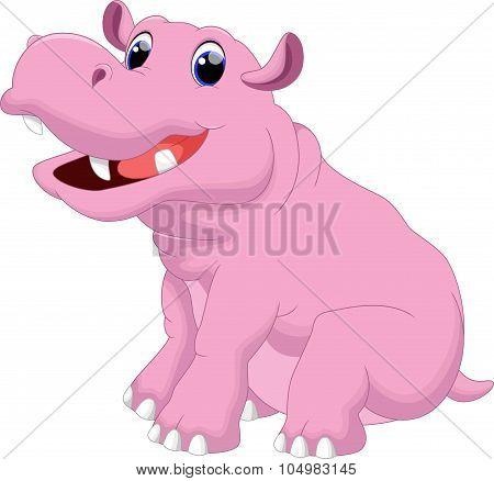 Illustration of hippo cartoon