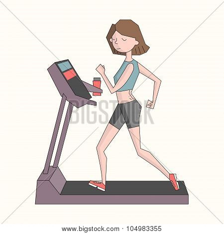Girl run treadmill color vector illustration