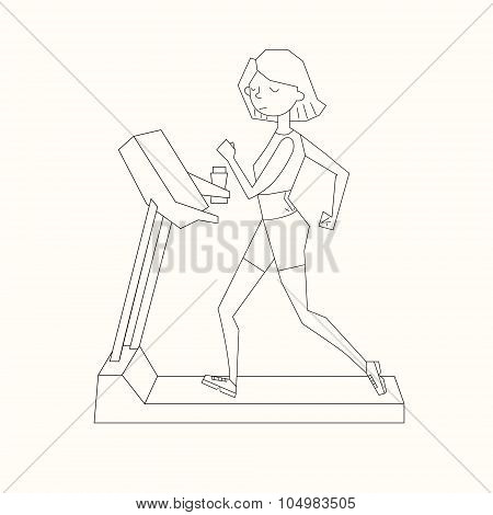Girl run treadmill black and white color