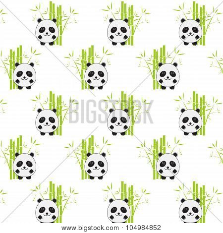 Seamless Background With Cartoon Panda Illustration. Panda And Bamboo Pattern.