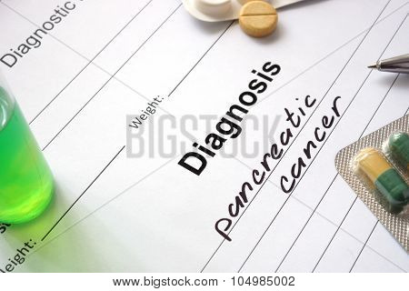 Diagnosis pancreatic cancer written in the diagnostic form.
