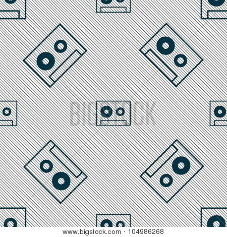 Cassette Sign Icon. Audiocassette Symbol. Seamless Pattern With Geometric Texture. Vector